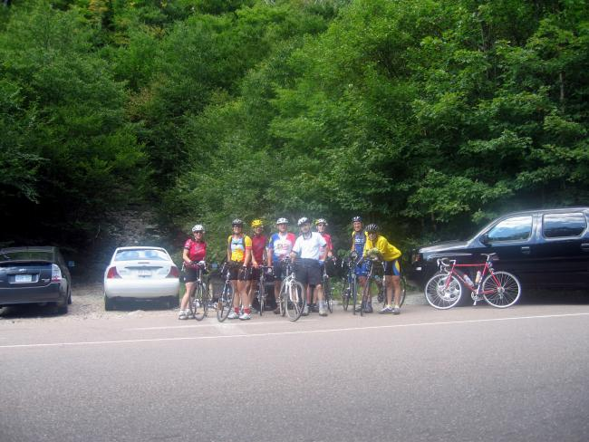 Suzanne, Sandy, Steve P, Tony, Dave, Chuck, Ed, Steve M at Smugglers Notch