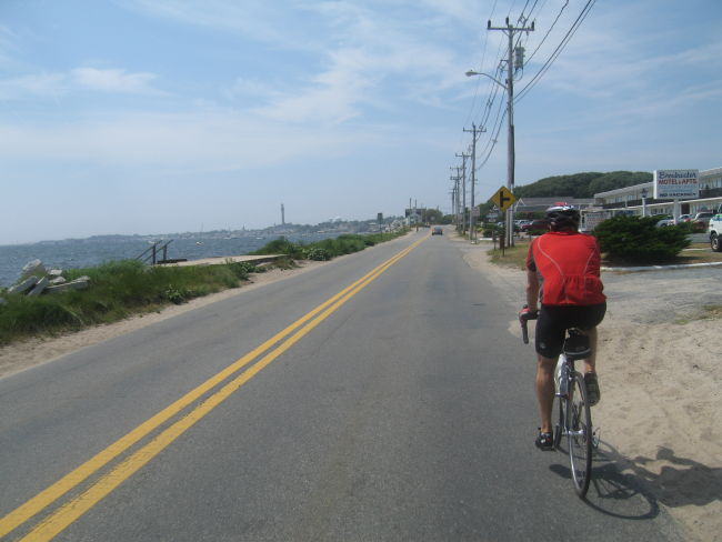 Vin Approaching Provincetown - Provincetown monument in the distance
