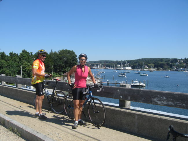 Vinnie & Mari w bridge to Eastern RI in background