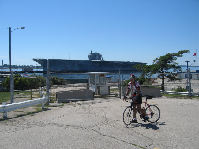 Charlie w USS Saratoga in background