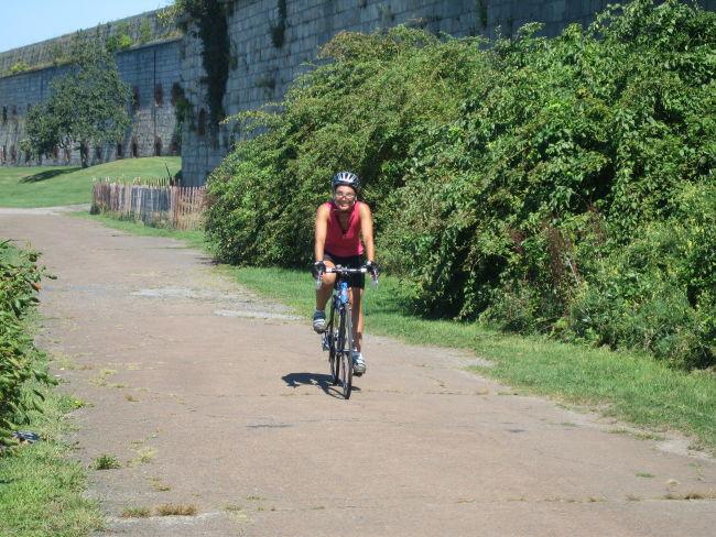 Mari riding by Ft Adams