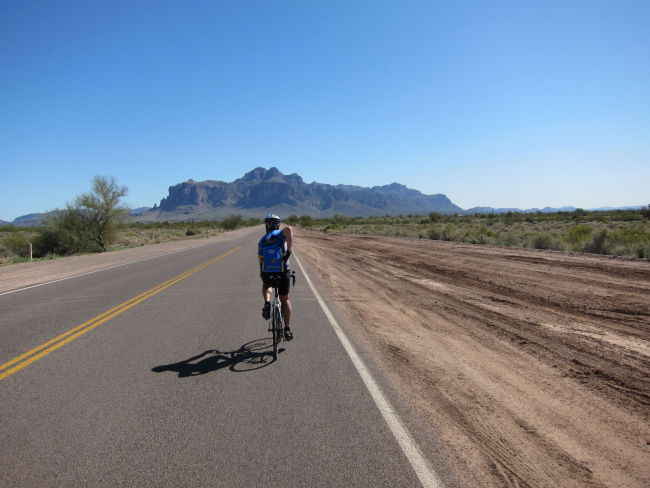 Larry heading toward Superstition Mtns