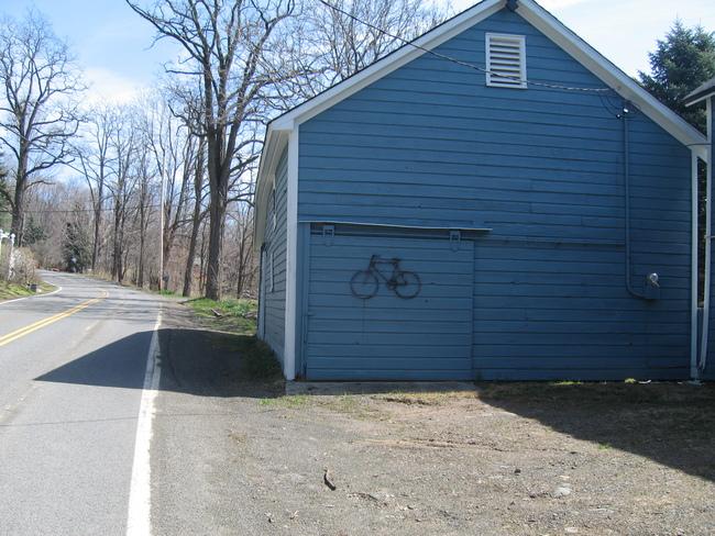 Bicycle art on a barn near Glenford, NY